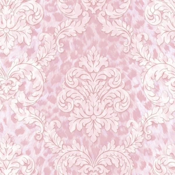 Imitação de pele rosa,  arabesco branco