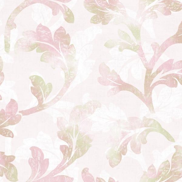 Folhas e ramos branco, roxo, rosa