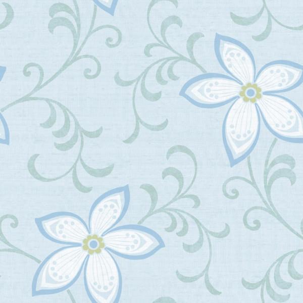 Floral azul,  fundo azul claro