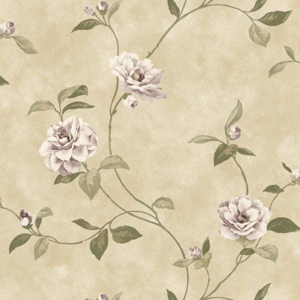 Floral lilás, fundo bege