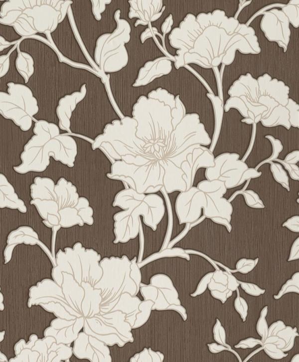 Floral branco, fundo marrom