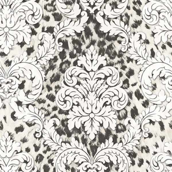 Imitação de pele preto, arabesco branco
