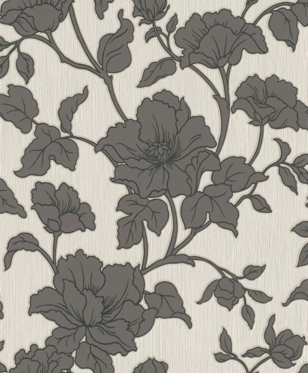 Floral grafite, fundo cinza