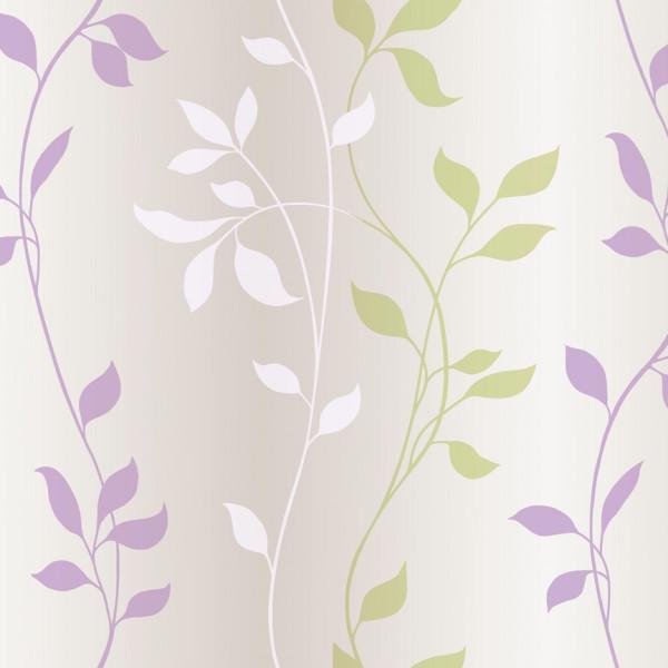 Folhas e ramos branco, roxo, bege